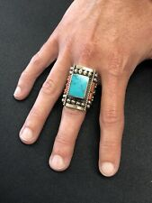 HUGE Detailed Native American Sterling Silver Turquoise Ring Size 8.5