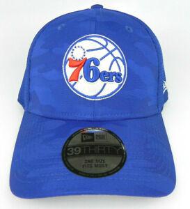 PHILADELPHIA 76ERS SIXERS NBA CAMO NEW ERA 39THIRTY FLEX M/L ROYAL HAT CAP NWT!