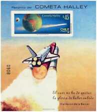 Chile 1985 Block Souvenir Scott # 702 Halley´s Comet Imperf. MNH CV US$ 27.50