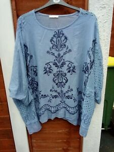 Beautiful Chambray Blue MADE IN ITALY Smock Top UK 18/20