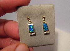 AAA ++  Brilliant Gem Grade Australian  Opal & Diamond Stud Earrings 14 kt Gold