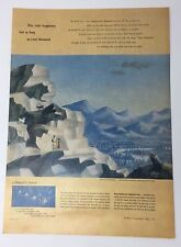 Original Print Ad 1951 DE BEERS DIAMONDS Mountain Honeymoon Jean Hugo Artwork