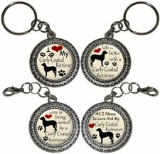 Curly Coated Retriever Dog Key Ring Key Chain Purse Charm Zipper Pull #2