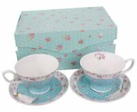 Coffee Tea cups and Saucers set of 2 Vintage Flora Rose Blue Pink