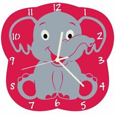 Euphyllia-Tempus Baby Elephant Wall Clock Fuchsia (e9547fus)