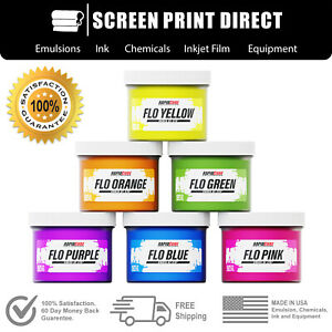 Plastisol Fluorescent Ink Kit For Screen Printing - Low Temp Cure - 6 Colors