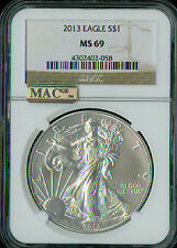 2013 SILVER EAGLE NGC MAC MS-69 2ND FINEST GRADED SPOTLESS .