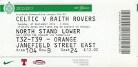 Ticket - Celtic v Raith Rovers 25.09.12 Scottish League Cup