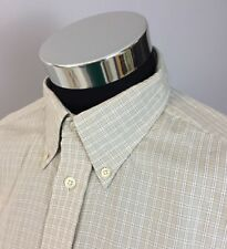 Faconnable Men's XL Cotton Shirt Made in USA Long Sleeve Tan White Checked (A32)