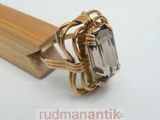 RING GOLD 585 mit großem RAUCHTOPAS im BAGUETTESCHLIFF - punziert