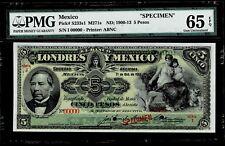 """Mexico $5 Pesos""""SPECIMEN""""Londres Y Mexico 1913 PMG 65"""