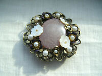 Vintage large round filigree flower brooch pin MOP Lucite enamel