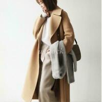 Long Loose Coat Wool Blend Cashmere Coat Outwear Thicken Camel Overcoat Parka sz