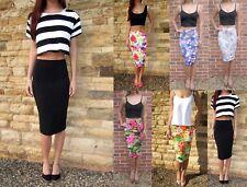 LONG Tall Jersey Tube Pencil Skirt Midi Length Black Print 8 10 12 14 16 18 20