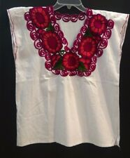 Mexican Women White Blouse Embroidered Red Flowers front short sleeve sz L