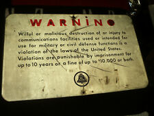 Cold War Era Bell System Warning Sign Destruction Of Military & Civil Defense