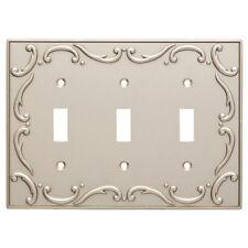 Triple Switch Plate French Lace Nickel Brainerd W10695