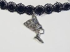 dentelle noire collier ras du cou avec plaqué argent pharaon cg0346