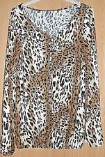 Unbranded Brown Mix Animal Print Stretch Long Sleeve Top size M / L