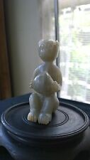"""Antique Chinese Jade Statue Gray Sitting  Monkey Holds Peach 3 3/4"""" Tall."""