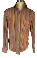 Niformis Mens Multicolor Stripe Long Sleeve Cotton Shirt L 41 Italy