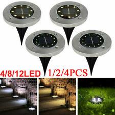4/8/12 LED Solar Power Decking Lights Ground Floor Outdoor Garden Lawn Path Lamp