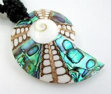 "Handmade 2.4"" Abalone Shell Cone Shell Shiva Eye Beads necklace 20"" long ; AA207"
