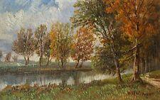 A. Ottinger - Flusslandschaft am Waldrand.