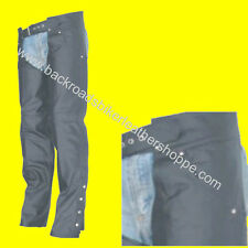 Mens Women Ladies Plain Leather Motorcycle Biker Chaps