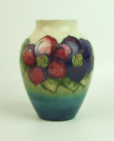 Moorcroft Clematis Pattern on a Graduated Ground Vase - Made in England.