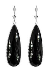Orecchini di lusso con gemme pendenti neri in oro bianco