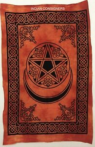 Poster Wall Hanging Indien Wonderful Star Moon Color Orange Small Tapestry