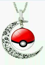 Hot NEW Pokemon Pokeball Moon Necklace Silver Chain Pikachu Pokemon Go USA women
