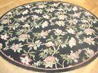 6' x 6' Black Roses Floral Artistic Handmade Round Needlepoint Rug