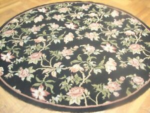 6' x 6' Black Roses Floral Artistic Handmade Round Needlepoint Rug