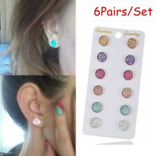 6Pairs Amethyst Round Stud Earrings Colorful Sparkly Rhinestone Natural Stone