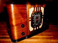 Old Antique Wood Vintage 1936 REMLER Radio  W/BOSE Bluetooth & Millefiori Bowl !