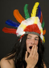 Native American Indian Feather Headdress Wild West Fancy Dress Adult P831