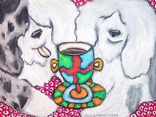 Old English Sheepdog Drinking Coffee Dog Folk Vintage Art Print 8 x 10 Signed