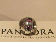 AUTHENTIC PANDORA PINK RUBY RED CZ SOCCER BALL CHARM -  790444CZR