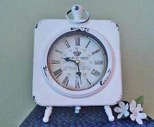 NEW SHABBY CHIC WHITE PARISIAN STYLE METAL DESK TOP OR WALL MOUNT CLOCK