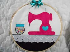 Sale * Cute Sewing Machine - Button Jar -  Hoop Art *Hand Crafted* Home Decor