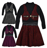 Girls Dress New Kids Long Sleeved Polo Neck Waistcoat Party Dresses 2-3 3-4 Year