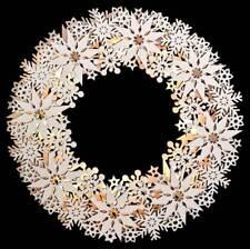 LED Kranz Schneeflocken Holz weiß 8 LEDs warmweiß Weihnachtsdeko *tolle Optik*
