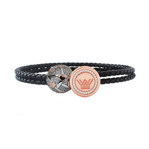 Leather Charm Bracelet Women Sterling Silver Rose Gold CRYSTAL HEARTS Bead Gift