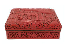 ANTIQUE CHINESE RED CINNABAR LACQUER BOX DEEPLY & FINELY CARVED SCENIC PATTERNS