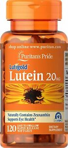 120 x Puritans Pride LUTEIN with ZEAXANTHIN 20mg Rapid Release Softgels Tablets