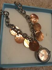 Mother of pearl shell bracelet watch silver chain jewellery coral colour