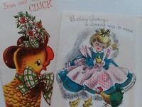 2 Vtg 50-60s ANTHROPOMORPHIC Old CLUCK Hen & GIRL w CHICKS BIRTHDAY GREET CARDS
