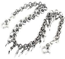 """DK Claw Pendant Ring EMO Biker Trucker Key Jean Wallet Chain (28"""") Silver CS79"""